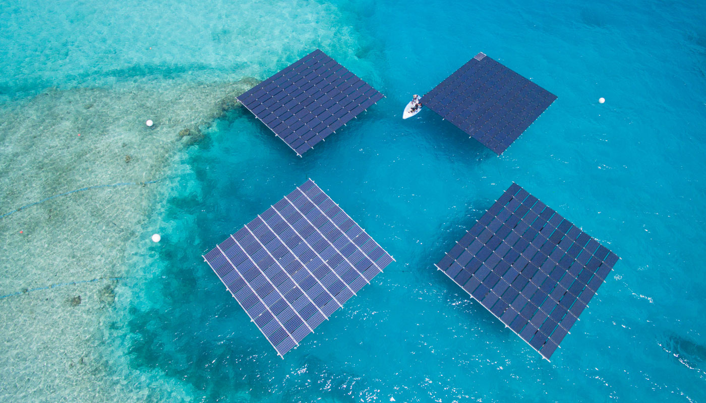 SolarSea modular floating solar power plant at sea (Baa Atoll, Maldives) by Swimsol
