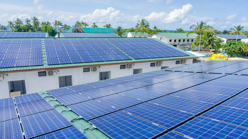Space is a precious resource in small island nations, illustrated by an island in the Maldives. Islands do not have space for solar panels. Invest in SolarSea- a floating solar solution.